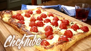 How To Make Puff Pastry Pizza With Goats Cheese, Honey And Cherry Tomatoes - Recipe In Description