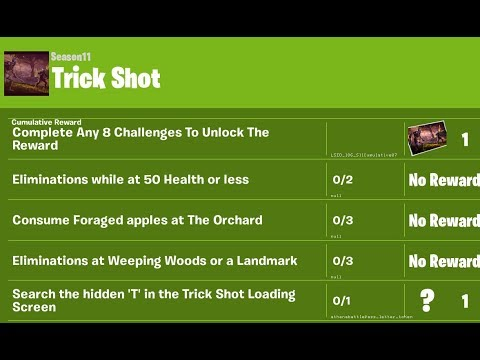 Fortnite Chapter 2 Week 7 Trick Shot Challenges Leaked Fortnite Battle Royal