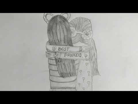 Best friend 💗pencil sketch tutorial //How to draw two friends hugging each other thumbnail
