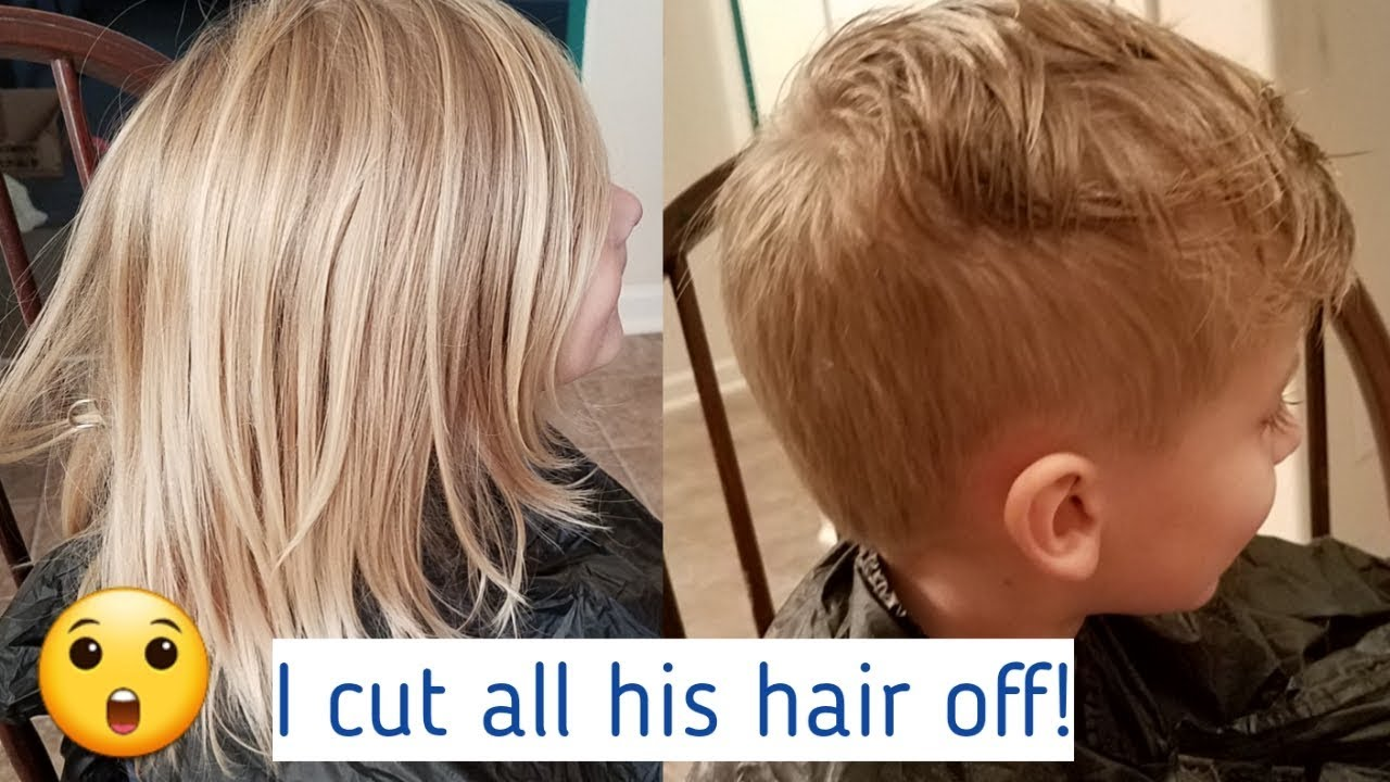 5 year old boy hair transformation! cutting off his long hair!