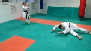 DrobyshevskyKarateSystem:BASSAI DAI-Bunkai Kumite-2-Morote Uchi Uke-Knife Defense