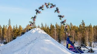 Daniel Bodin Lands Huge Double Backflip on a Snowmobile!