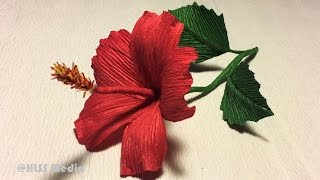 How to make diy hibiscus crepe paper flower tutorials|Hibiscus flower origami|paper craft tutorials