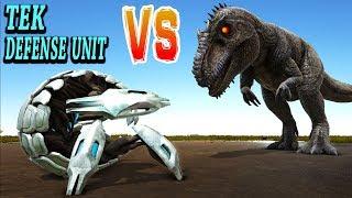 ARK TEK DEFENSE UNIT vs GIGANOTOSAURUS! Giga vs Tek Defence Unit Ark Survival Evolved Dino Battles