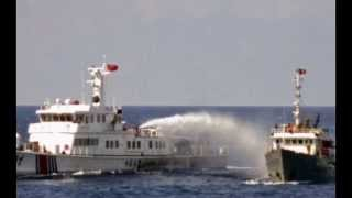 China coast guard fire water cannon to Vietnam vessel