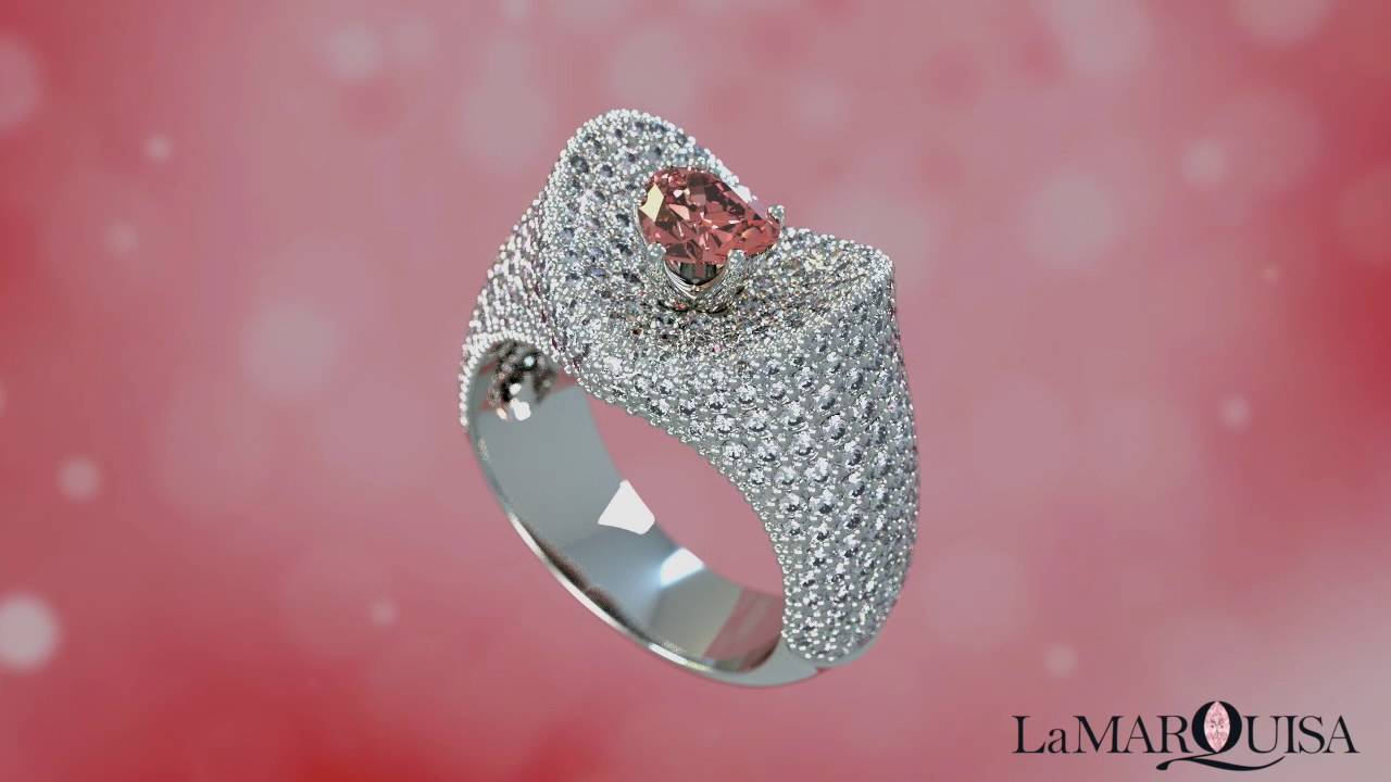 Lamarquisa ring with pink Heart shaped diamond - YouTube