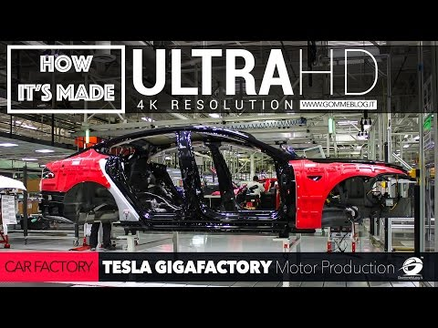 [4K] CAR FACTORY: TESLA GigaFactory and Motor PRODUCTION Plant