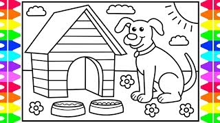 How to Draw a Dog for Kids 💚💙🐶Dog Drawing for Kids | Dog Coloring Pages for Kids