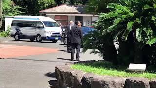 安倍総理来鹿。長州出身の首相が同盟国薩摩で桜島をバックに総裁選出馬...