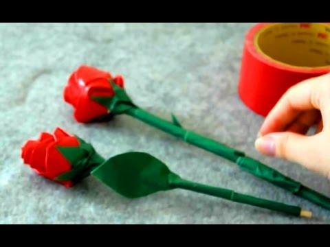วิธีทำดอกกุหลาบจากเทปกาว
