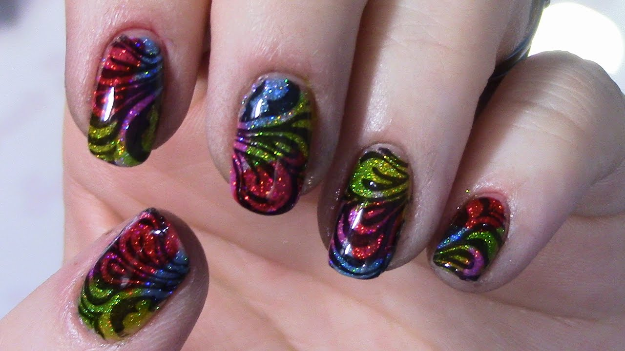 Stamping Over Jelly Polish Nail Art Design - YouTube