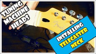 Installing Tuning Machine Heads Into A Replacement Telecaster Neck  | How To Install [9/11]