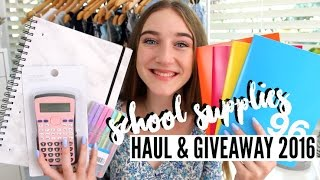 BACK TO SCHOOL SUPPLIES HAUL & GIVEAWAY 2016!