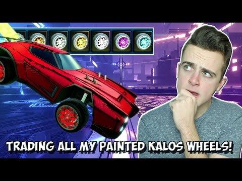 TRADING ALL OF MY PAINTED KALOS WHEELS FOR LOADS OF KEYS! | Rocket League W/ MagicalGamer