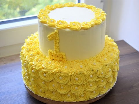 Easy two tier birthday cake at home, Rosette birthday Cake, yellow rosette cake