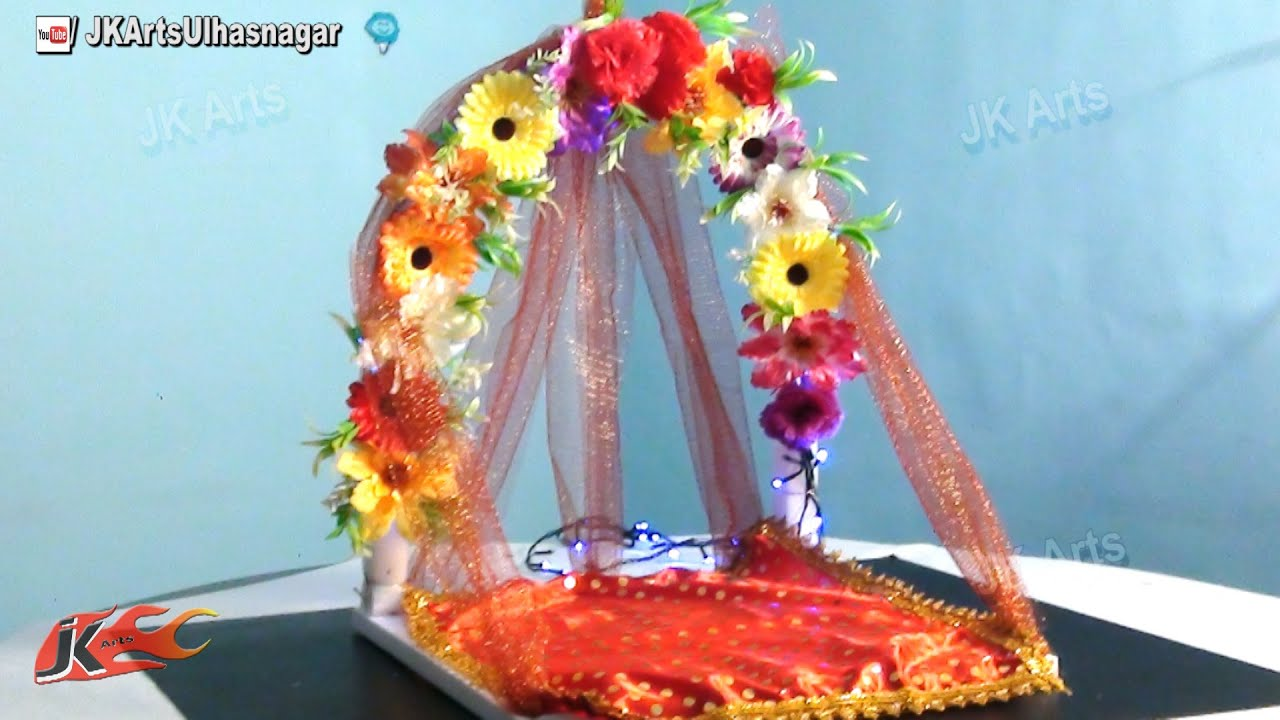 Diy how to make ganpati makhar jk arts 671 youtube for Artificial flower decoration for ganpati