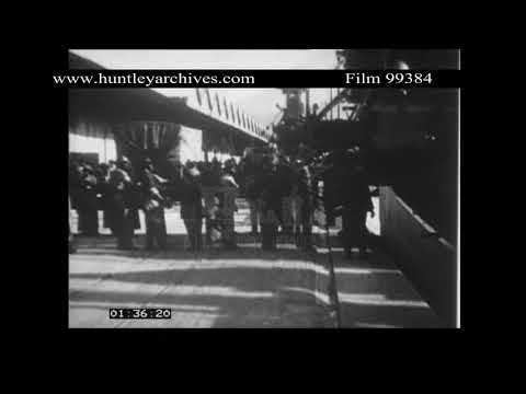 Delivery of Locomotives to South Africa, 1920's.  Archive film 99384