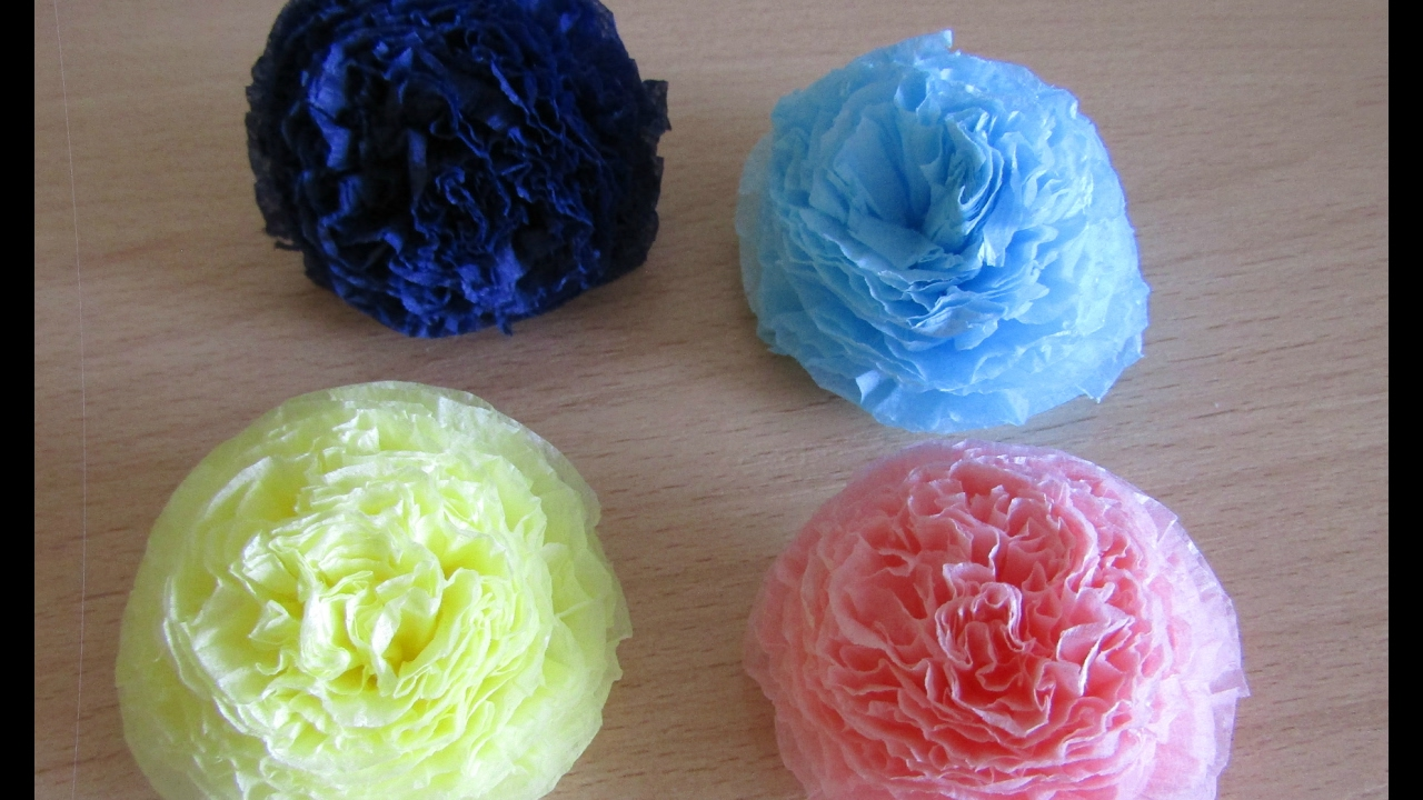 Цветы из салфеток для объемных цифр
