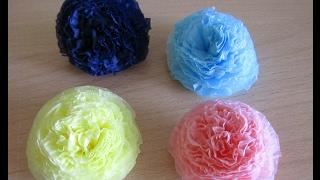 Цветы из салфеток для объемной цифры.вариант 1
