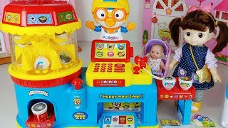 Baby Doll food cooking and Pororo food shop toys play story - ToyMong TV 토이몽