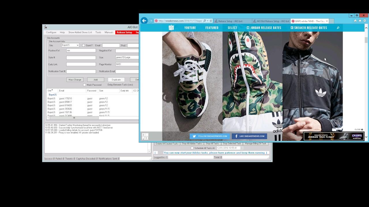 Another Nike Bot Bape NMD Setup