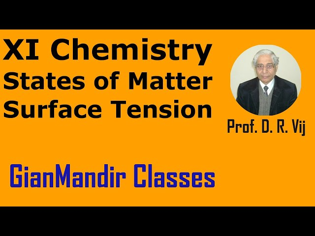 XI Chemistry | States of Matter | Surface Tension by Ruchi Ma'am