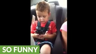 Kid has full-on argument with 'Talking Carl' app