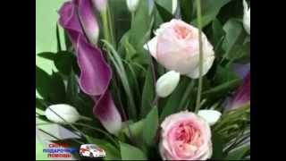 Букет из французских роз Анджи, тюльпанов и калл