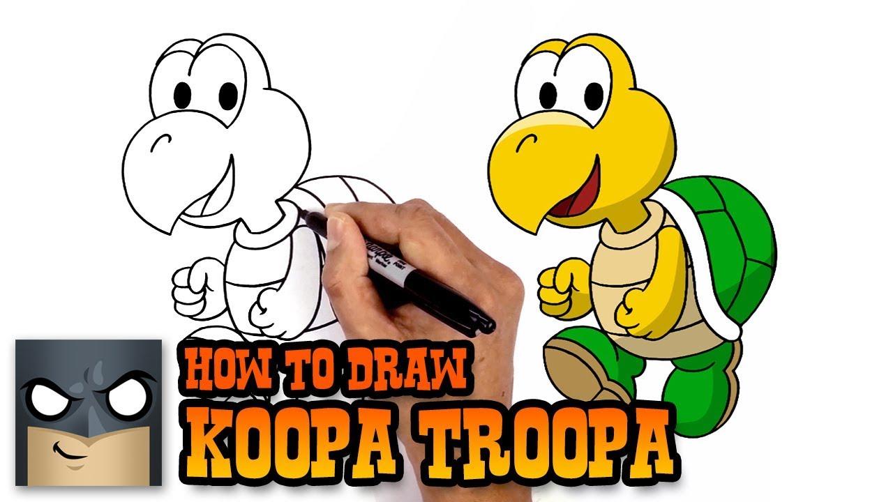 How To Draw Koopa Troopa Super Mario Art Tutorial Kidztube