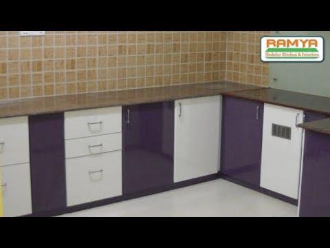 Purple White Colours High Glossy Finish For Ramya Modular Kitchen Mr Kiran Mohan Chengalpet