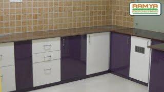 Purple & White colours, High Glossy Finish For Ramya Modular Kitchen, Mr Kiran Mohan  Chengalpet,