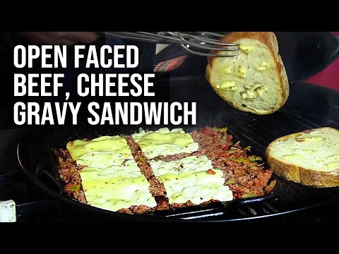 open-faced-beef,-cheese-and-gravy-sandwich