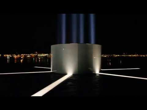 Imagine peace tower switched on John Lennon´s birthday 9th October 2014