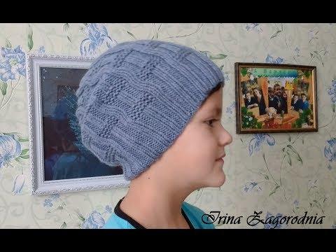шапка спицами брендовая шапка для подросткавидео урок шапки для