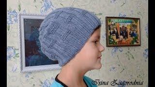 Шапка спицами-брендовая шапка для подростка.Видео урок шапки для детей