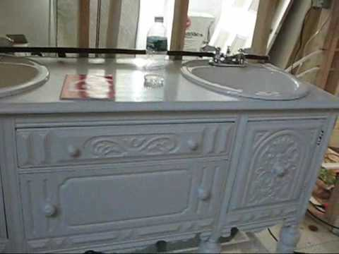 Antique sideboard turned into bathroom vanity 8th vid - Antique Sideboard Turned Into Bathroom Vanity 8th Vid - YouTube