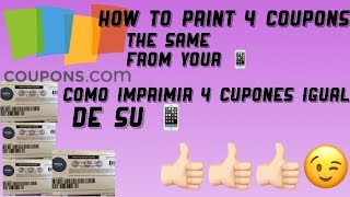 How to print 4 coupons the same from your 📱/ como imprimir 4 cupones igual de su 📱😉👍🏻