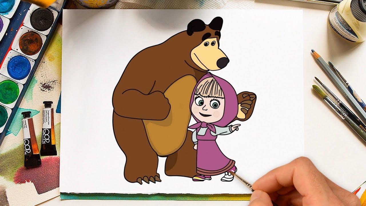 Маша и медведь картинки рисуют