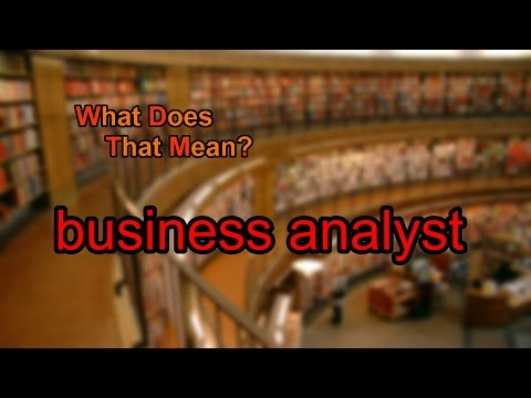 What does business analyst mean?