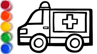 Let's learn to draw Ambulance and coloring for kids | GENiEART