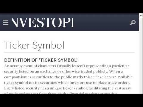 Ticker Symbol Information
