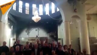 بالفيديو...أول قداس للمسيحيين بعد الخلاص من