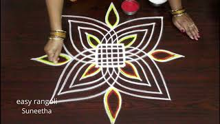 Cute color padi kolam || marghazi /dhanurmasam rangoli || geethala muggulu 2019 for beginners