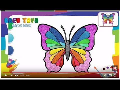Drawing and coloring Glitter Butterfly,Pages Learning ...