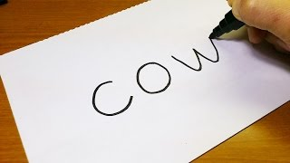 Very Easy ! How to turn words COW into a Cartoon - art on paper for kids