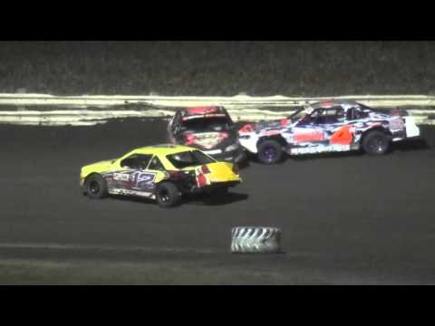 4th Annual Fall Extravaganza Night 1/ IMCA Stock Car feature Lee County Speedway 10/9/15