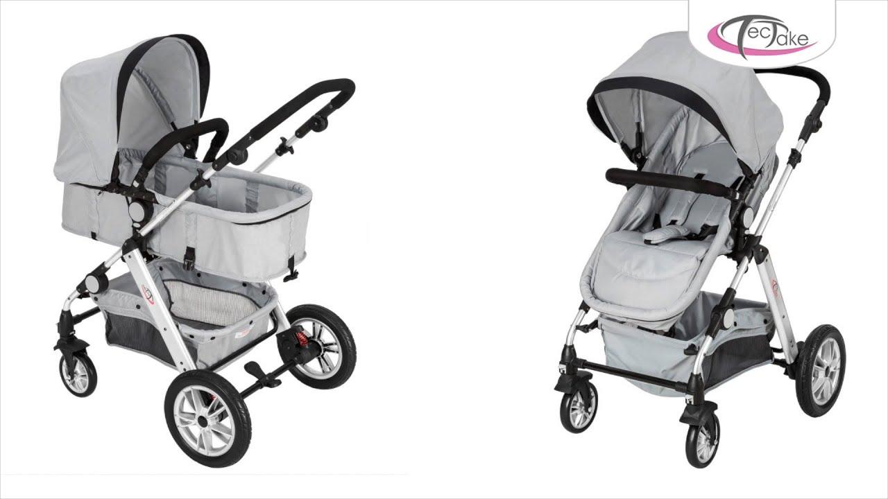 Poussette 3 en 1 d'enfants Combinée pliable combinable canne de voyage bébé FR