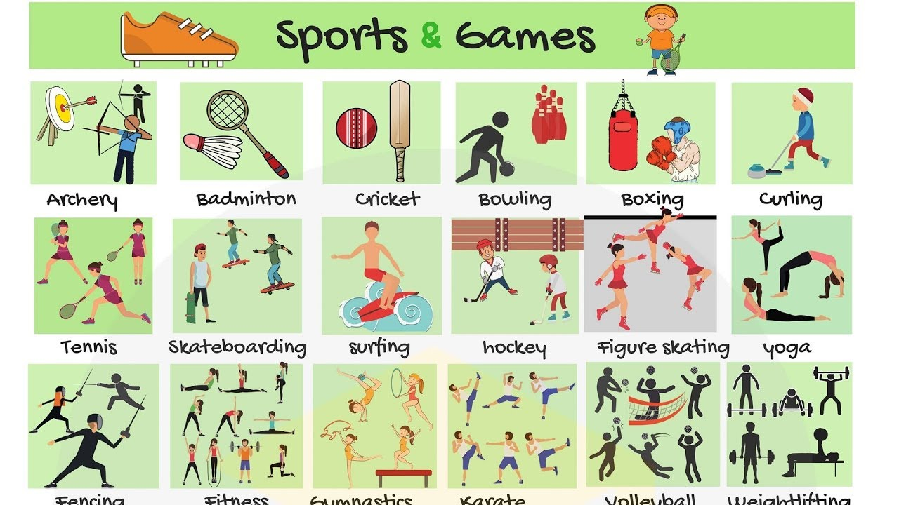 List of Sports: Names of Sports and Games in English - 7 E S L