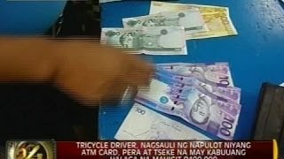 Tricycle driver, nagsauli ng napulot na ATM card, pera at tseke na may halagang mahigit P100,000