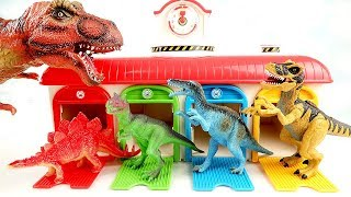 Dinosaurs Attack Tayo Garage! Learn Dinosaur For Kids~ Jurassic World Toys 공룡 타요 장난감 - ColorMonsters